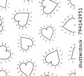 hand drawn hearts seamless... | Shutterstock .eps vector #794143951