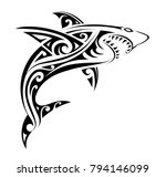 Tribal tattoo design for shark  with ethnic Polynesian tribal elements | Shutterstock vector #794146099
