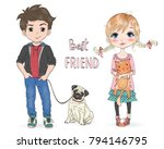 Stock vector hand drawn beautiful cute little girl with pretty cat and cartoon boy with dog pug vector 794146795