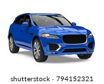 Blue SUV Car Isolated. 3D rendering - stock photo