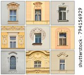 windows of of an old building.... | Shutterstock . vector #794156929