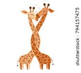 hugging giraffe postcard vector ...