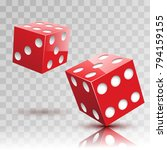 two red dices on transparent...   Shutterstock .eps vector #794159155