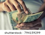 close up hands counting money... | Shutterstock . vector #794159299