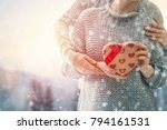 romantic couple holding... | Shutterstock . vector #794161531