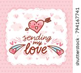 love greeting card with cute... | Shutterstock .eps vector #794167741