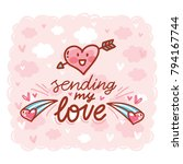 love greeting card with cute... | Shutterstock .eps vector #794167744