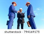 engineers hold meeting on blue... | Shutterstock . vector #794169175