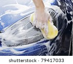 man washing a soapy blue car...   Shutterstock . vector #79417033