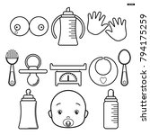 set baby icons  isolated line... | Shutterstock .eps vector #794175259