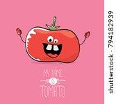 vector funny cartoon cute red... | Shutterstock .eps vector #794182939