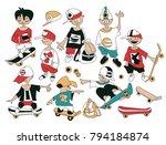 funny cartoon sketch of... | Shutterstock .eps vector #794184874