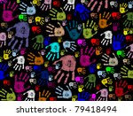colorful hand prints on black... | Shutterstock .eps vector #79418494