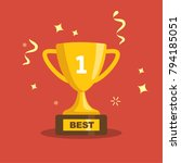 golden trophy isolated on red... | Shutterstock .eps vector #794185051