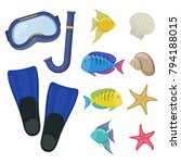 diving mask and flippers on... | Shutterstock .eps vector #794188015