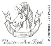 unicorn with ribbon banner.... | Shutterstock .eps vector #794191339