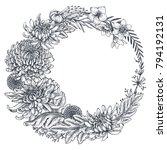 vector wreath with black and... | Shutterstock .eps vector #794192131