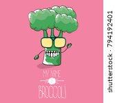 vector funny cartoon cute green ... | Shutterstock .eps vector #794192401