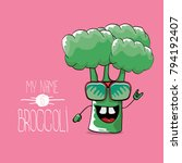 vector funny cartoon cute green ... | Shutterstock .eps vector #794192407