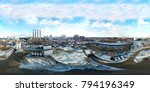 Small photo of 360-degree panoramic aerial view of industrial unhealthy zone near Moscow, Russia