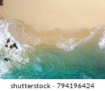 Sand Beach Aerial  Top View Of...