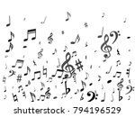 black flying musical notes... | Shutterstock .eps vector #794196529