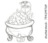 bath with foam  shower and... | Shutterstock .eps vector #794199769