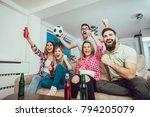 happy friends or football fans... | Shutterstock . vector #794205079