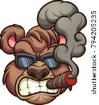 angry smoking bear with... | Shutterstock .eps vector #794205235