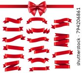 red ribbon and bow  | Shutterstock . vector #794206861