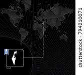 israel on black world map. map... | Shutterstock .eps vector #794210071