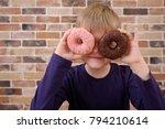 little happy cute boy is posing ... | Shutterstock . vector #794210614