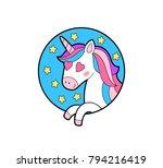 cute unicorn in love. enamored... | Shutterstock .eps vector #794216419