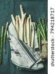 fresh green and white asparagus ... | Shutterstock . vector #794218717