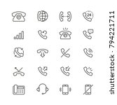 phone related icons  thin... | Shutterstock .eps vector #794221711
