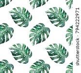 watercolor exotic seamless...   Shutterstock . vector #794222971