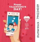 happy valentine day vector...   Shutterstock .eps vector #794224039