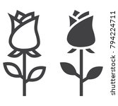 rose flower line and glyph icon ... | Shutterstock .eps vector #794224711