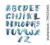 watercolor alphabet. exclusive... | Shutterstock . vector #794231401