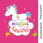 cute magical unicorn isolated... | Shutterstock .eps vector #794233597