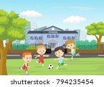 illustration of boys kicking... | Shutterstock . vector #794235454
