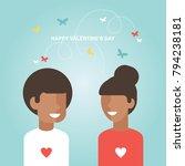 valentine's day happy couple...   Shutterstock .eps vector #794238181