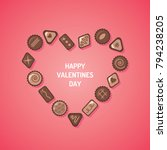 valentine's day chocolate candy ...   Shutterstock .eps vector #794238205