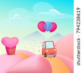 pink car with balloons with a... | Shutterstock .eps vector #794238619