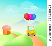 yellow car with balloons on... | Shutterstock .eps vector #794238625