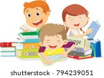 happy kids reading books.... | Shutterstock .eps vector #794239051