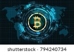 bitcoin with hud elements. bit... | Shutterstock .eps vector #794240734