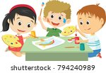 happy kids drawing together... | Shutterstock .eps vector #794240989