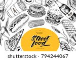hand drawn fast food banner....   Shutterstock .eps vector #794244067