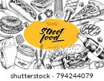 hand drawn fast food banner.... | Shutterstock .eps vector #794244079